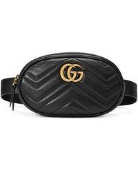 Gucci Leather Marmont Matelass Belt Bag - Black