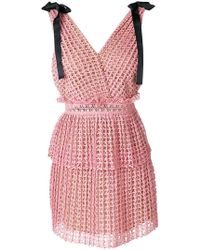 4e447814f5117 Self-Portrait Cutwork Mini Dress in Pink - Save 60% - Lyst