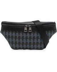 Karl Lagerfeld Logo-print Leather Belt Bag - Black