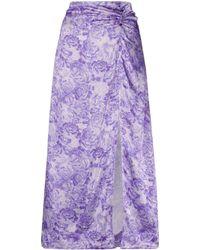 Ganni Юбка С Цветочным Принтом И Сборками - Пурпурный