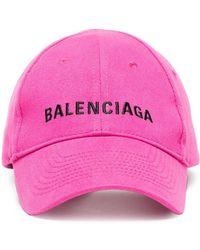 Balenciaga - Pink Logo Embroidered Cap - Lyst