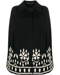 Ermanno Scervino Embroidered Cape Coat - Black