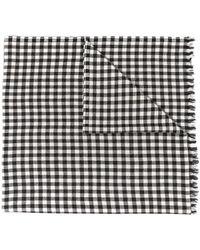 Destin Fine Check Print Scarf - White