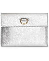 Burberry - D-ring Metallic Leather Pouch With Zip Coin Case - Lyst