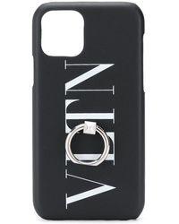 Valentino Vltn Logo Print Iphone Case - Black
