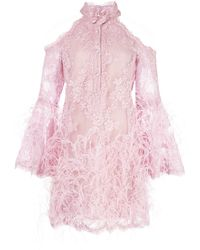 Marchesa Feather Embellished Short Dress - Purple