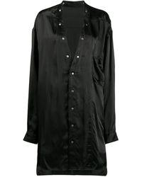 Rick Owens Длинная Рубашка Без Воротником - Черный