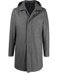 Dell'Oglio Hooded Single Breasted Coat - Grey