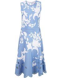Carolina Herrera フローラル ジャカードドレス - ブルー
