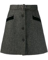 Miu Miu ヘリンボーン ミニスカート - ブラック