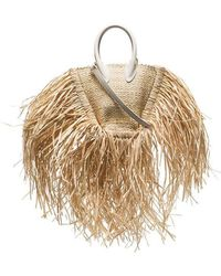 Jacquemus - Beige Le Petit Baci Straw And Leather Bag - Lyst