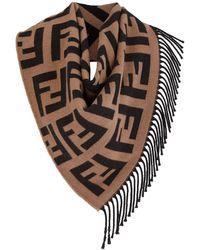Fendi Sjaal Met Logo - Bruin