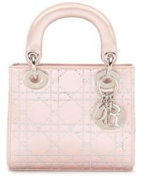Dior Pre-owned Mini Lady Dior Cannage Bag - Pink