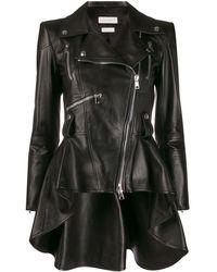 Alexander McQueen Peplum Leather Jacket - Black