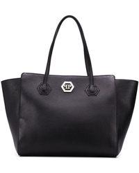 Philipp Plein Logo Plaque Tote Bag - Black