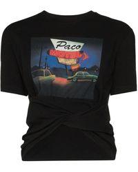 Paco Rabanne コットンジャージーtシャツ - ブラック