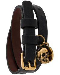 Alexander McQueen Dubbele Wikkelarmband Met Doodskop - Zwart