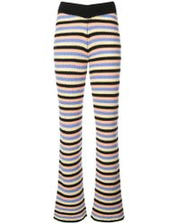 The Elder Statesman - Ribbed Striped Flared Trousers - Lyst