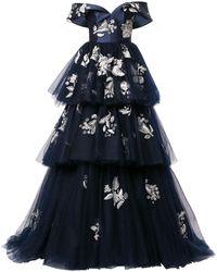 Carolina Herrera フローラル ティアード ドレス - ブルー