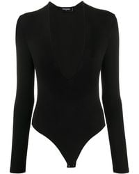 DSquared² Deep V-neck Fine Knit Bodysuit - Black