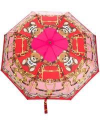 Moschino Paraguas con motivo Toy Scarf - Rosa