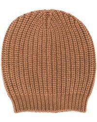 Fabiana Filippi Ribbed Knit Beanie Hat - Brown