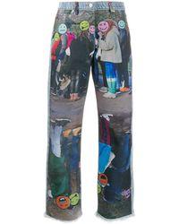 Natasha Zinko Graphic-print Straight-leg Jeans - Blue