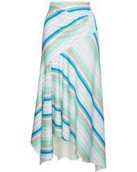 Peter Pilotto Striped Asymmetric Jersey Skirt - Groen