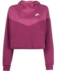 Nike Sweat crop Tech Fleece à capuche - Rose