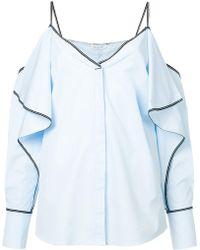 Mugler - Cold Shoulder Ruffle Shirt - Lyst