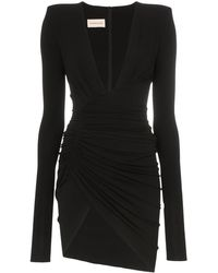 Alexandre Vauthier Deep V-neck Ruched Mini-dress - Black