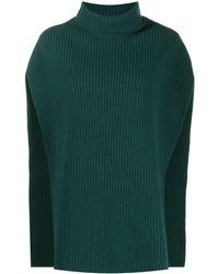 Colville Roll-neck Draped Jumper - Green