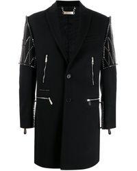 Philipp Plein Однобортное Пальто С Заклепками - Черный
