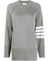 Thom Browne Пуловер С Рукавами Реглан И Полосками 4-bar - Серый