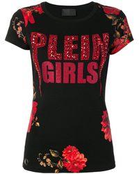 Philipp Plein フローラル Tシャツ - ブラック