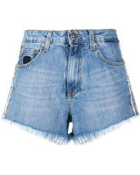 John Richmond Embellished Denim Shorts - Blue