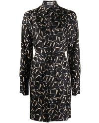 Bally Printed Silk Midi Dress - Black
