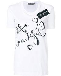 Dolce & Gabbana - Life Is Beautiful Printed T-shirt - Lyst