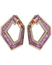 Kavant & Sharart Orecchini in oro rosa 18kt, zaffiri, ametista e diamanti