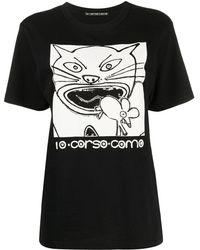 10 Corso Como Cat-print Cotton T-shirt - Black