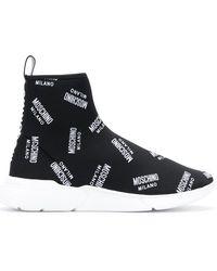 Moschino - All-over Logo Print Sock Hi-tops - Lyst