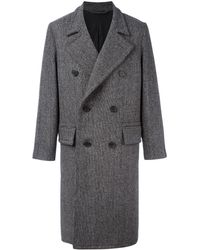 AMI Double Breasted Classic Long Coat - Black