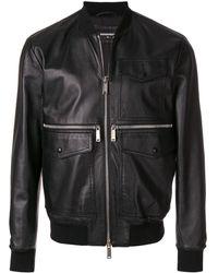 DSquared² Pocket leather jacket - Schwarz