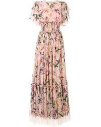 Dolce & Gabbana Vestido fruncido con motivo de lirios - Rosa