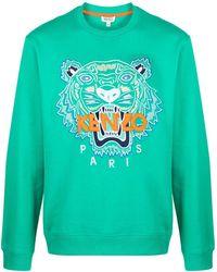 KENZO Sweater Met Geborduurde Tijger - Groen