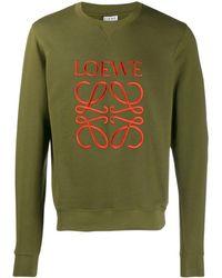 Loewe Logo Embroidered Sweatshirt - Green