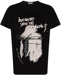 Yohji Yamamoto スローガンプリント Tシャツ - ブラック