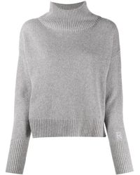 Roseanna Zachary Embroidered Logo Cashmere Sweater - Gray