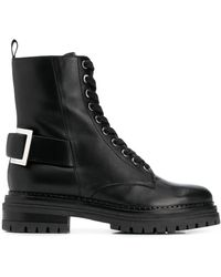 Sergio Rossi Buckle-embellished Combat Boots - Black