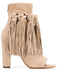 Chloé Fringed Open Toe Booties - Natural